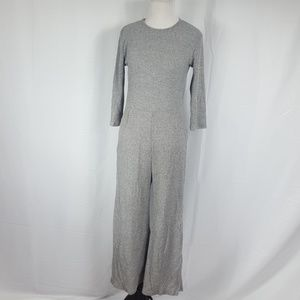 Sweet Claire Gray 3/4 Sleeve Ribbed Jumpsuit